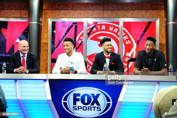 General Manager Travis Schlenk of the Atlanta Hawks introduces new draft picks John Collins Tyler Dorsey and Alpha Kaba during a Press Conference on...