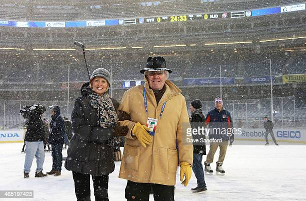 General Manager/New York Rangers Glen Sather and wife Ann Sather skate during the 2014 NHL Stadium Series practice sessions and family skate at...