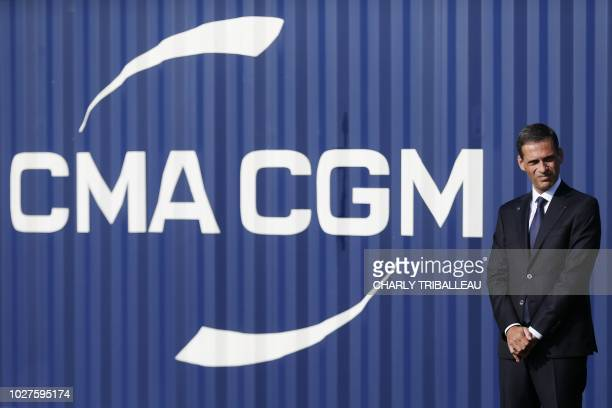 General managing director of CMA CGM group Rodolphe Saade poses during the inauguration of the container ship 'Antoine de Saint Exupery' operated by...