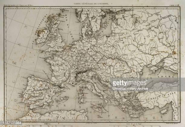 General map of Europe Atlas de l'Histoire du Consulat et de l'Empire History of the Consulate and the Empire of France under Napoleon by Marie Joseph...