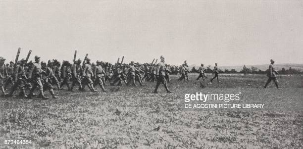 General Mario Nicolis of Robilant reviewing Italian troops on the French front France World War I from L'Illustrazione Italiana Year XLV No 24 June...