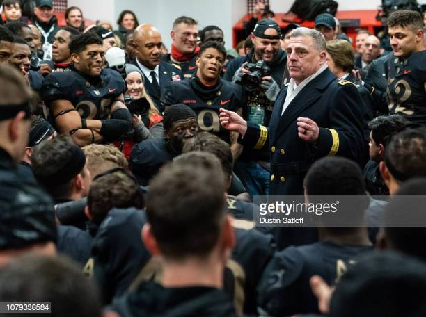 General Mark A Milley US Army Chief of Staff speaks to the Army Black Knights in the locker room after defeating the Navy Midshipmen at Lincoln...