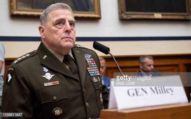 General Mark Milley, Chairman of the Joint Chiefs of Staff, testifies on the department's fiscal year 2022 budget request during a House Armed...