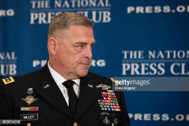 General Mark Milley Chief of Staff of the US Army arrives to speak at the National Press Club July 27 2017 in Washington DC Milley fielded questions...