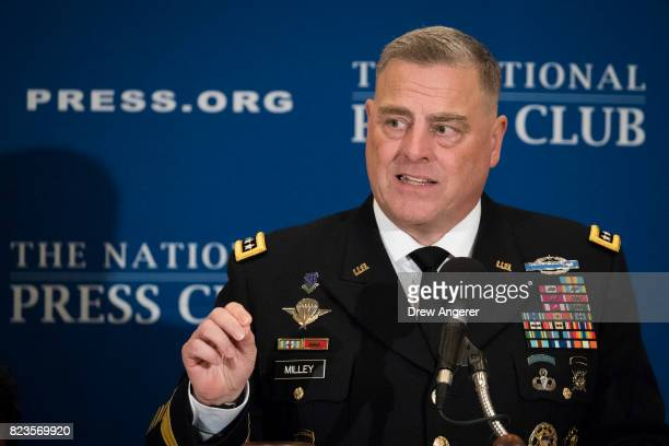 General Mark Milley Chief of Staff of the US Army speaks at the National Press Club July 27 2017 in Washington DC Milley fielded questions regarding...
