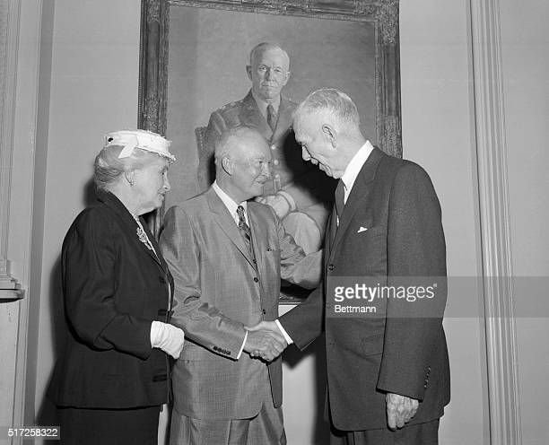 General Marshall at Birthday Party for His 'Baby' Washington DC Standing in front of a large painting of himself when he was US Army Chief of Staff...