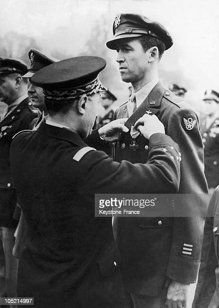 General Martial Valin Head Of Staff Of French Air Forces Decorates The American Colonel And Actor James Stewart With The Croix De Guerre With Palm As...