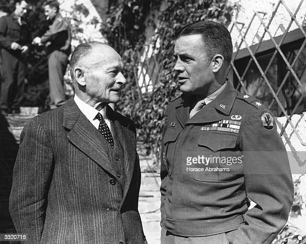 General Maxime Weygand former commanderinchief of the French Army and Major General Anthony C McAuliffe of the 101st Infantry at Innsbruck after...
