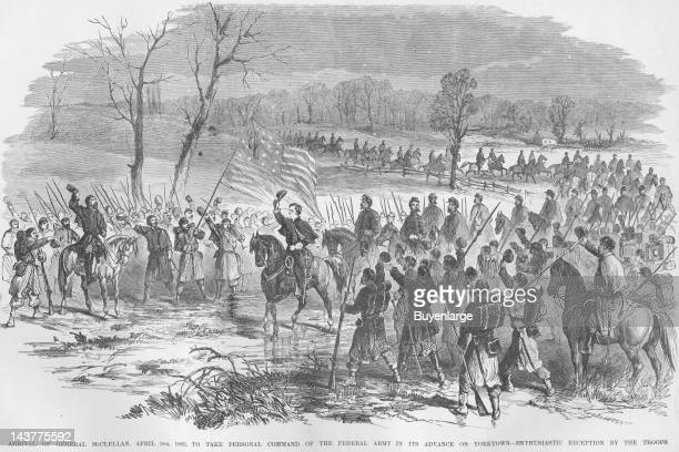 General McClellan arrives to take command of the Siege of Yorktown Virginia Yorktown Virginia April 5 1862 From an issue of Frank Leslie's...