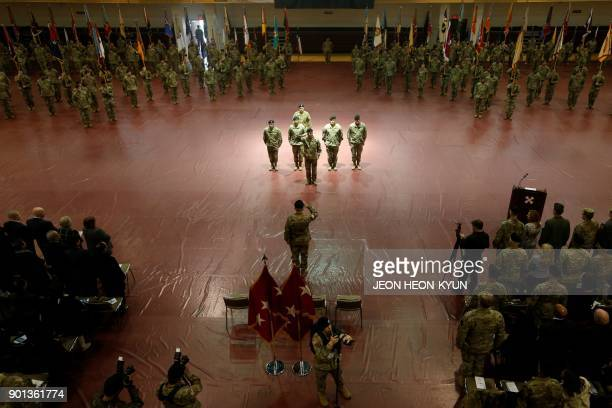 US General Michael A Bills incoming commanding general and Eighth Army chief of staff of the ROKUS Combined Forces Command salutes during a change of...