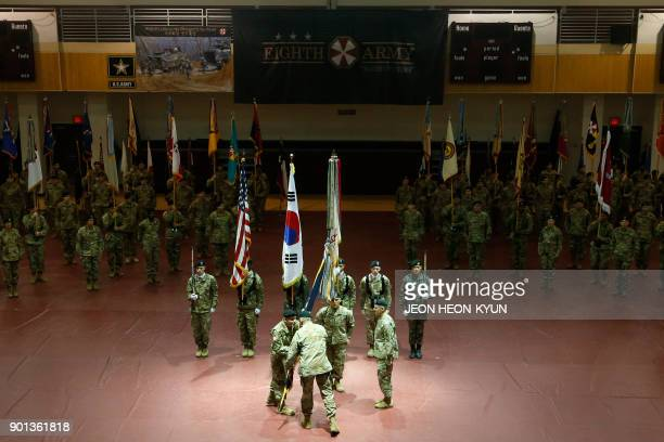 US General Michael A Bills incoming commanding general and Eighth Army chief of staff of the ROKUS Combined Forces Command receives the US Forces...
