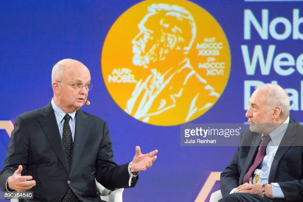 General Michael Hayden former Director of the CIA and the NSA and Joseph E Stiglitz 2001 Laureate of the Nobel Prize in Economics speaks at 'Nobel...