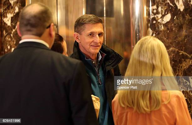 General Mike Flynn Donald Trump's new national security adviser arrives at Trump Tower on November 29 2016 in New York City Presidentelect Donald...