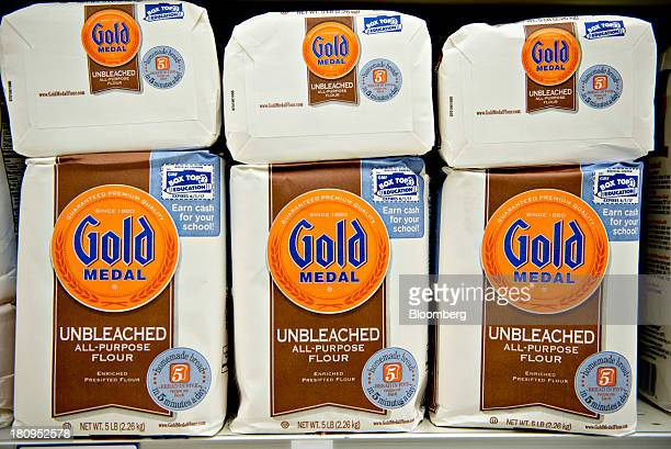 General Mills Inc Gold Medal flour sits on display at a supermarket in Princeton Illinois US on Tuesday Sept 17 2013 General Mills Inc said net sales...