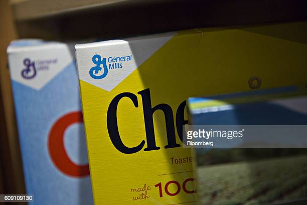 General Mills Inc logos appear on boxes of Cheerios and Rice Chex brand cereal arranged for a photograph in Tiskilwa Illinois US on Tuesday Sept 20...