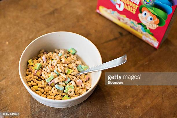 General Mills Inc Lucky Charms brand cereal is arranged for a photograph in Tiskilwa Illinois US on Wednesday March 18 2015 General Mills reported...