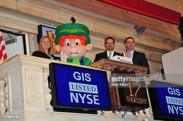 General Mills Marketing Manager Jill Kurzawa Lucky Charms mascot Lucky General Mills Marketing manager Joe Driscoll and NYSE's Scott Cutler visit the...