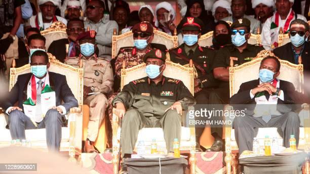 "General Mohamed Hamdan Daglo ""Hemeti"", deputy chairman of Sudan's Sovereignty Council, council chief General Abdel Fattah al-Burhan, and Prime..."