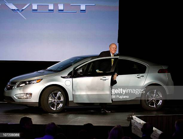 General Motors' CEO Dan Akerson gets out of Chevrolet Volt VIN# 00001 after driving it on stage at DetroitHamtramck Assembly November 30 2010 in...