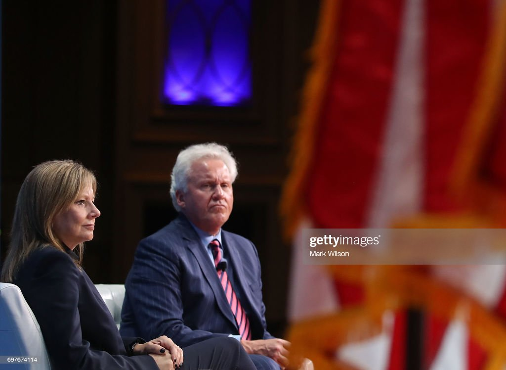 General Motors CEO, Mary Barra (L), and General Electric CEO, Jeffrey Immelt participate in a discussion moderated by Commerce Secretary Wilbur Ross during the Select USA 2017 Investment Summit at the Gaylord international Hotel, on June 19, 2017 in National Harbor, Maryland. SelectUSA is a U.S. government-wide program housed in the International Trade Administration at the United States Department of Commerce.
