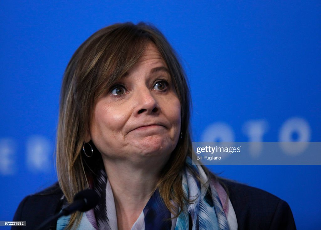 GM CEO Mary Barra Addresses the 2018 General Motors Annual Meeting of Shareholders : News Photo