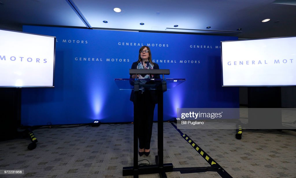 General Motors (GM) CEO Mary Barra speaks to the news media before the automobiile maker's annual meeting of shareholders at GM world headquarters June12, 2018 in Detroit, Michigan.