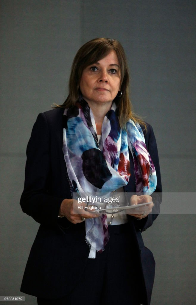 General Motors (GM) CEO Mary Barra waits to speak to the news media before the automobiile maker's annual meeting of shareholders at GM world headquarters June12, 2018 in Detroit, Michigan.