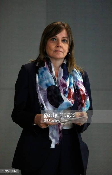 General Motors CEO Mary Barra waits to speak to the news media before the automobiile maker's annual meeting of shareholders at GM world headquarters...
