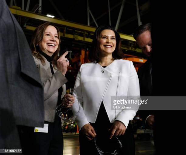 General Motors Chairman and CEO Mary Barra and Michigan Gov Gretchen Whitmer do a quick interview on stage after Barra announced a $300 million...