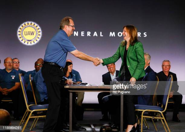 General Motors Chairman and CEO Mary Barra and United Auto Workers President Gary Jones open the 2019 GMUAW contract talks with the traditional...