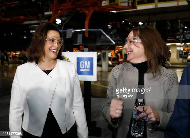 General Motors Chairman and CEO Mary Barra talks with Michigan Gov Gretchen Whitmer before she announced a $300 million investment in the GM Orion...