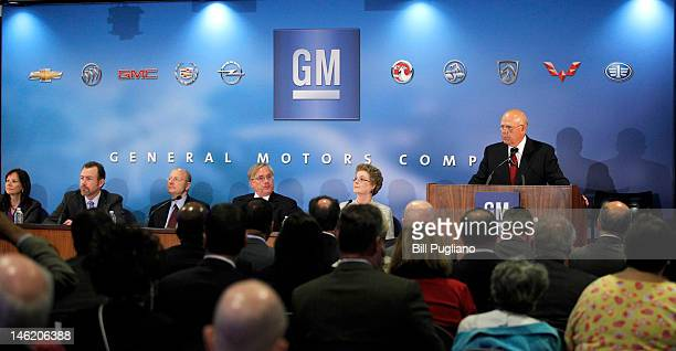 General Motors Chairman and Chief Executive Officer Dan Akerson speaks at the 2012 GM annual meeting of stockholders at GM headquarters June 12, 2012...