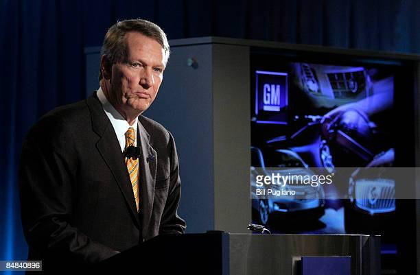 General Motors Chairman Rick Wagoner speaks at a press conference at the company's world headquarters February 17, 2009 in Detroit, Michigan. Wagoner...