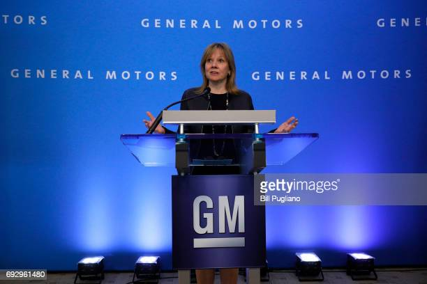 General Motors Chairperson and CEO Mary Barra speaks to the news media at the company's annual meeting of shareholders June 6 2017 in Detroit...