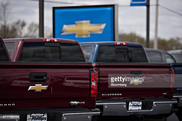 General Motors Co 2015 Chevrolet Silverado pickup trucks are displayed for sale on the lot at Phillips Chevrolet car dealership in Frankfort Illinois...