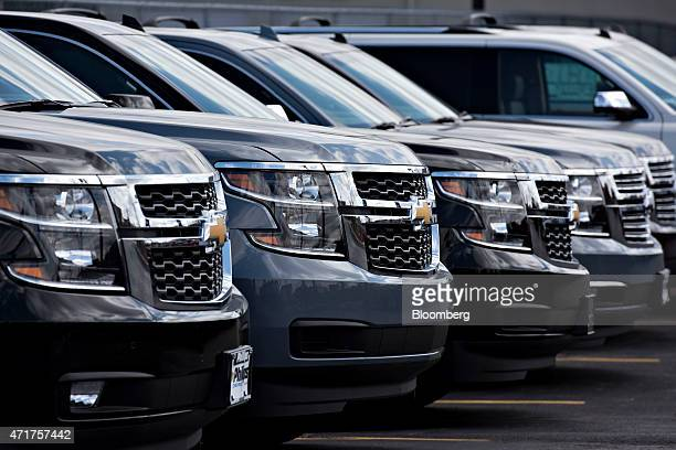 General Motors Co 2015 Chevrolet Suburban sports utility vehicles are displayed for sale at Phillips Chevrolet car dealership in Frankfort Illinois...