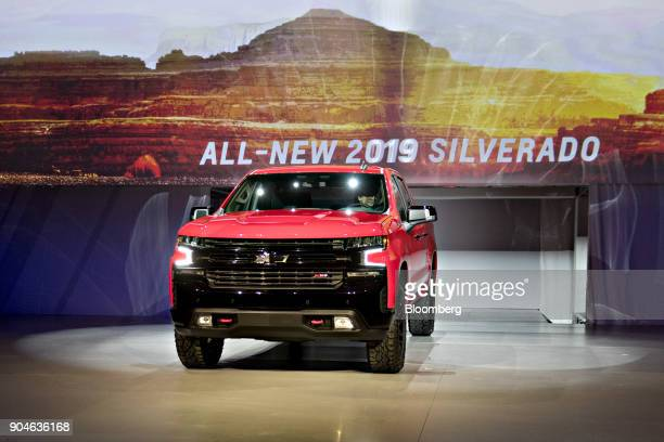 A General Motors Co 2019 Chevrolet Silverado pickup truck is unveiled during the 2018 North American International Auto Show in Detroit Michigan US...