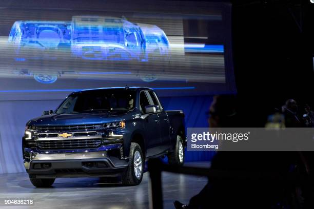 A General Motors Co 2019 Chevrolet Silverado pickup truck sits on display after being unveiled at an event during the 2018 North American...