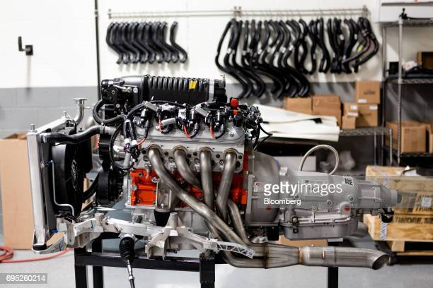 A General Motors Co Chevrolet COPO Camaro performance engine sits inside the company's build center in Oxford Michigan US on Friday April 21 2017 The...