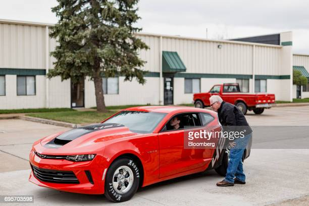 A General Motors Co Chevrolet COPO Camaro performance vehicle sits outside of the company's build center in Oxford Michigan US on Friday April 21...