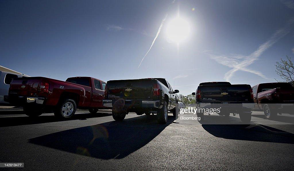 (GM) Chevrolet Silverado Pickup Trucks Sit On Display At Green