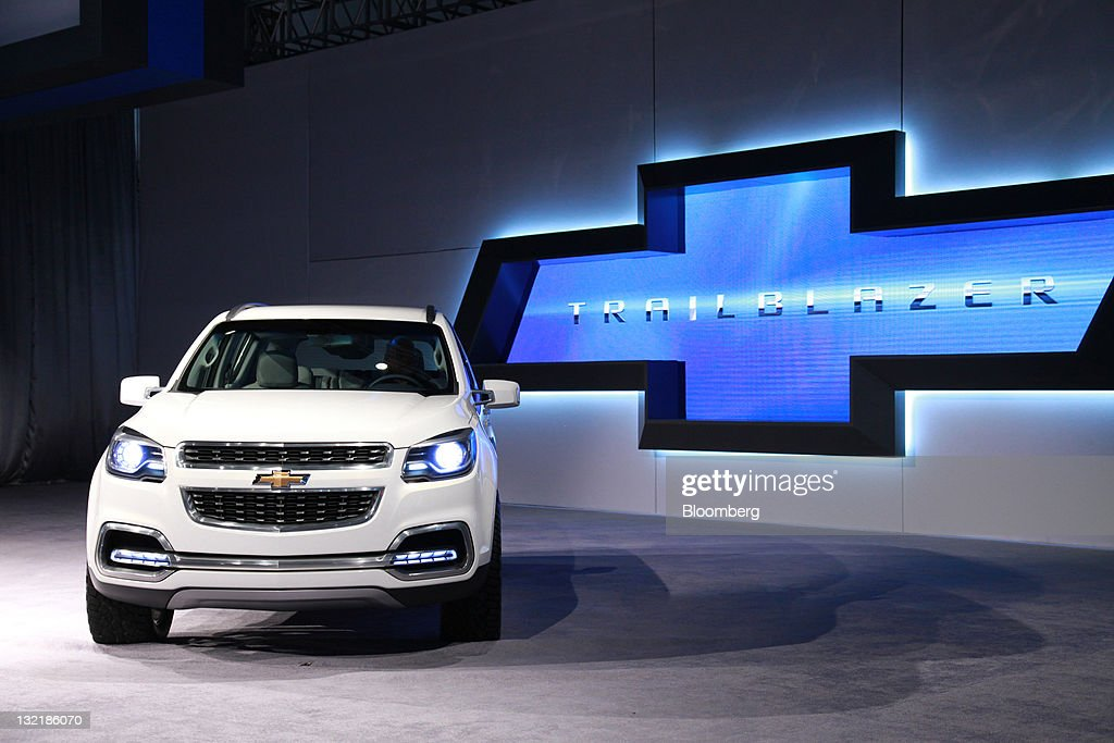 A General Motors Co Chevrolet Trailblazer Automobile Stands On