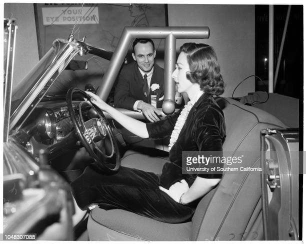 General Motors motorama 11 April 1953 Mrs Bea King Nich Feles Gloria Marshall Marlene Barr Caption slip reads 'Photographer Paegel Date Reporter Reay...
