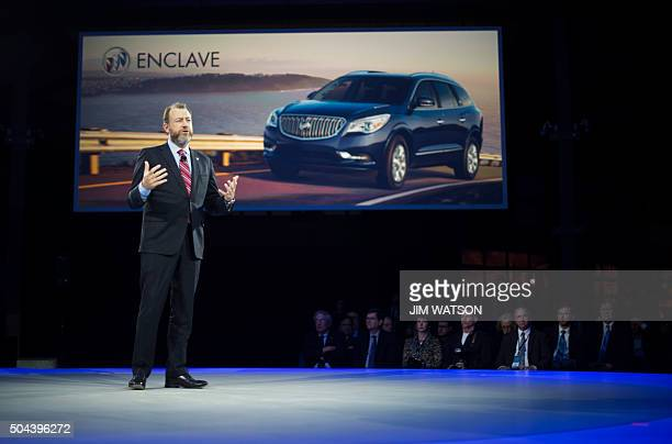 General Motors President Dan Ammann speaks during the unveiling of the Buick Avista concept coupe ahead of the North American International Auto Show...