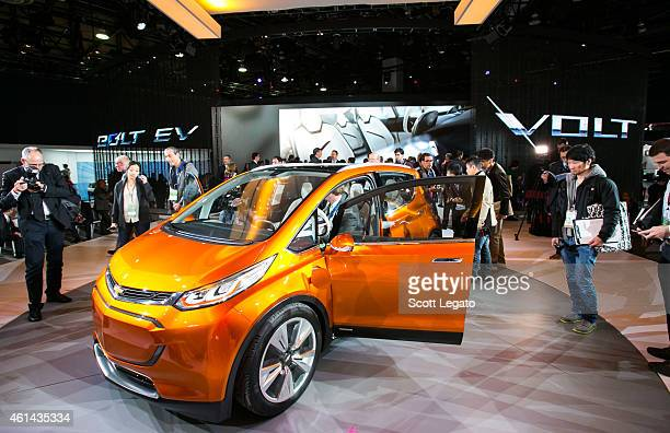 General Motors reveals the new Chevrolet Bolt concept to the media at the 2015 North American International Auto Show at Cobo Center on January 12...