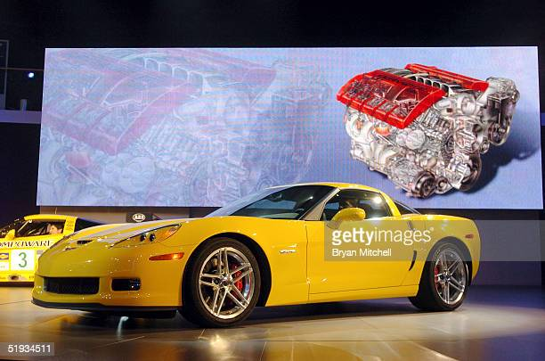 General Motors shows off the 500 horsepower Corvette Z06 January 10 2005 at the North American International Auto Show in Detroit Michigan