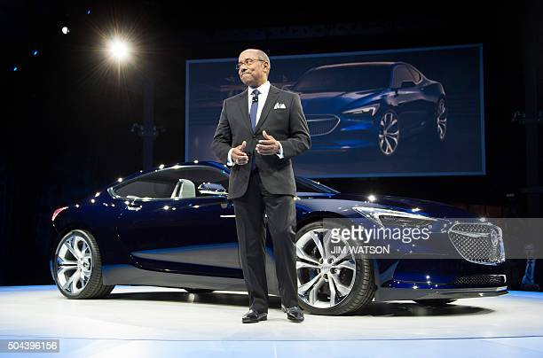General Motors Vice President of Global Design Ed Welburn speaks during the unveiling of the Buick Avista concept coupe ahead of the North American...