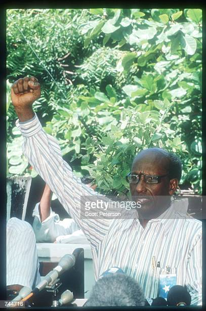 General Muhammed Adid raises a fist December 6 1993 in Mogadishu Somalia US gunships attacked the compound of warlord Mohammad Aidid in response to...