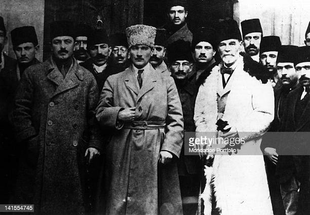 General Mustafa Kemal Ataturk future President of the Republic of Turkey posing with some other people attending the Sivas Congress Sivas September...