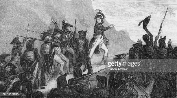 General Napoleon Bonaparte crossing the Ligurian Apennines on 5 April 1796 during the Revolutionary Wars in Italy. An engraving by Pollet from an...